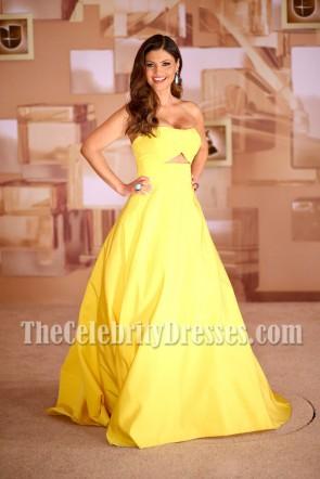 Chiquinquira Delgado Bright Yellow Strapless Ball Gown 2014 Latin Grammy Awards