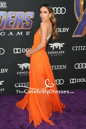 Chloe Bennet  Orange Cut Out Evening Dress World Premiere Of 'Avengers Endgame' TCD8394
