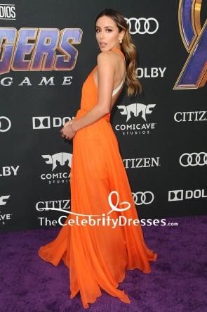 Chloe Bennet  Orange Cut Out Evening Dress World Premiere Of 'Avengers Endgame' TCD8394