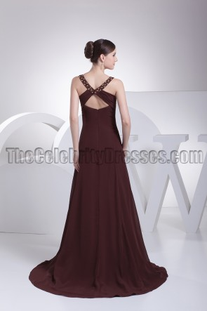 Chocolate V-Neck Beaded Prom Gown Evening Dresses