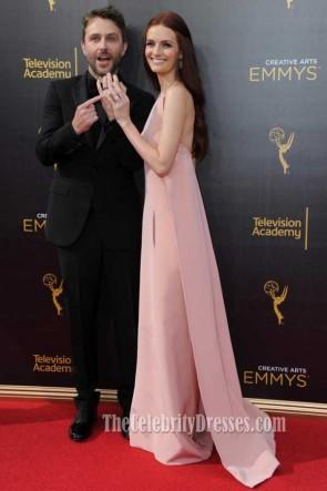 Lydia Hearst Perle Rose Halter dos nu soirée robe de bal Creative Emmys 2016