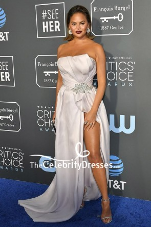 Chrissy Teigen Strapless White Thigh-high Slit Evening Dress Critics' Choice Awards 2019