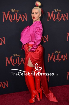 Christina Aguilera Two-tone Evening Dress World Premiere Of 'Mulan'  TCD8881