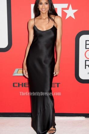 Ciara Black Blackless Spaghetti Evening Prom Gown Black Girls Rock  3