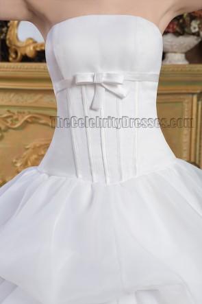 Classic Strapless Ball Gown Chapel Train Wedding Dresses