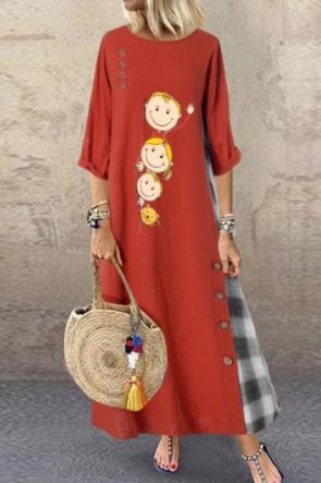 Cute Loose Plus Size Cotton Maxi Dress