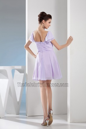 Short Cap Sleeve Lilac Chiffon Party Homecoming Dresses