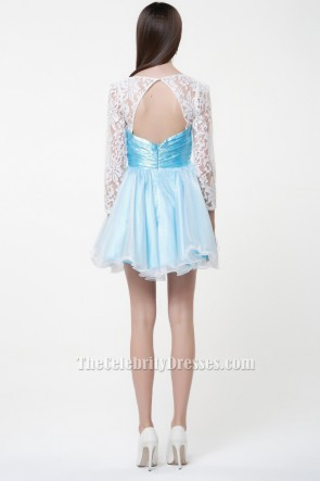 Cute Short Long Sleeve A-Line Party Homecoming Dresses TCDBF027