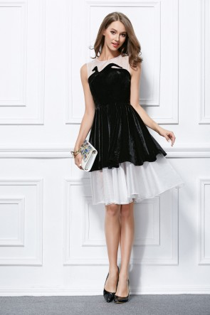 Cute White And Black Short Mini Party Homecoming Dresses TCDBF290