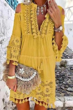 Cutout Shoulder Lace Fringe Dress
