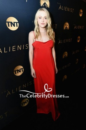 Dakota Fanning Red Spaghetti Straps Slip Evening Dress  LA premiere of The Alienist