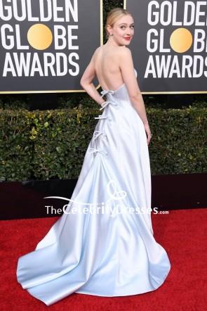 Dakota Fanning Silver Strapless Ball Gown 2019 Golden Globe Awards Red Carpet TCD8241