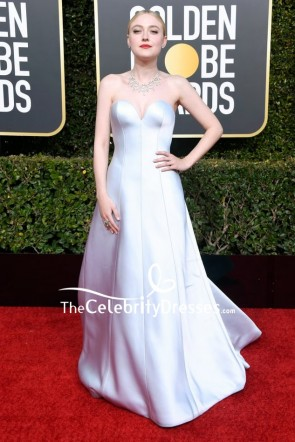 Dakota Fanning Silver Strapless Ball Gown 2019 Golden Globe Awards Red Carpet