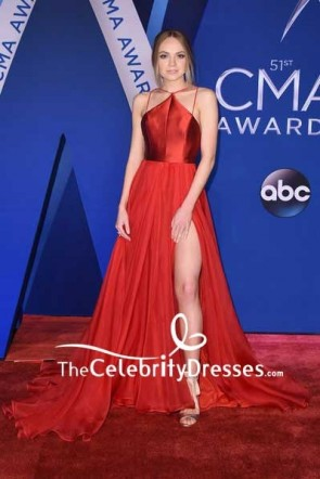 Danielle Bradbery Red Thigh-high Slit Evening Dress  2017 CMA Awards