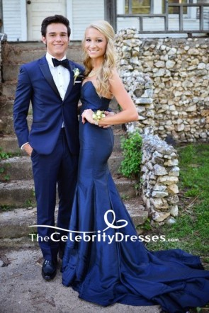 Dark Navy Strapless Mermaid Prom Gown Backless Formal Dress