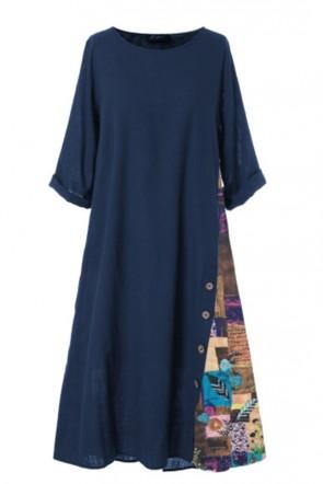 Robe longue imprimée vintage bleu marine foncé