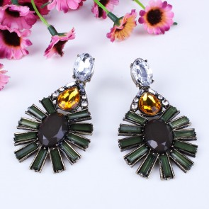 Dark Green Ellipse Water Drop Statement Earrings for Sale TCDE0051