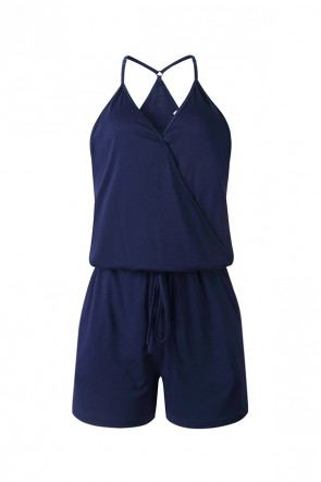 Dark Navy V-neck Pockets Romper