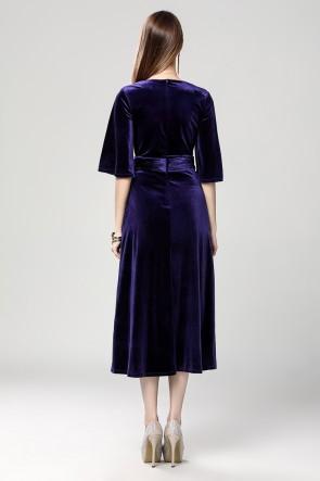 Dark Royal Blue Velvet Cocktail Semi Formal Dresses TCDBF2017