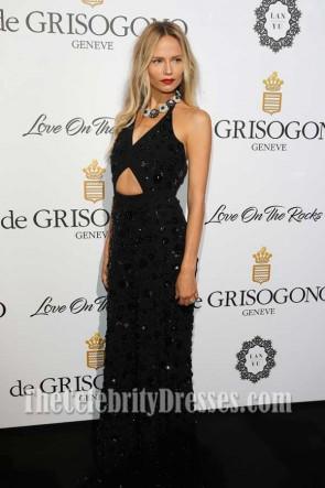 Natasha Poly paillettes noir découper robe de Grisogono amour sur les rochers