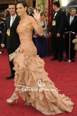Demi Moore Robe de soirée à volants sans bretelles Oscars 2010 rouge