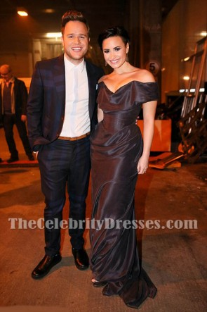 Demi Lovato Black Off-the-should Backless Evening Perform 2014 X Factor UK Finale