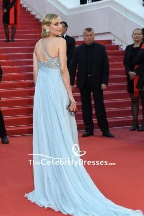 Diane Kruger Robe de soirée en mousseline de soie de luxe à une épaule 2018 Tapis rouge de Festival de Cannes