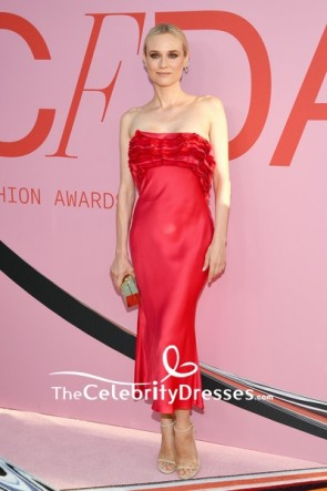 Diane Kruger Red Ruffles Ankle Strapless Column Evening Dress 2019 CFDA Fashion Awards