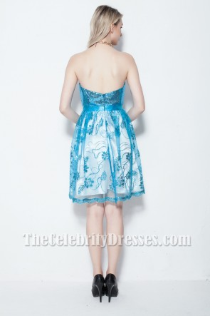 Discount Blue Strapless Sequined Party Homecoming Dress TCDB0108