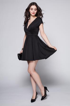 Discount Short Mini Black V-Neck Party Cocktail Dress