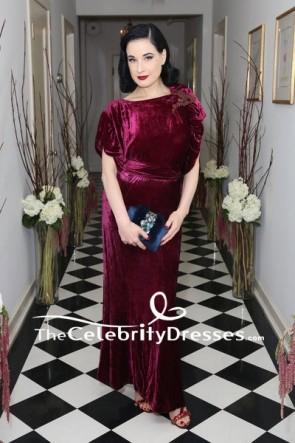 Dita Von Teese Burgundy Embroidered Velvet Cap Sleeves Cocktail Dress Olgana Paris Cocktail Party