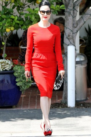 Dita Von Teese Red Long Sleeve Party Cocktail Pencil Dress