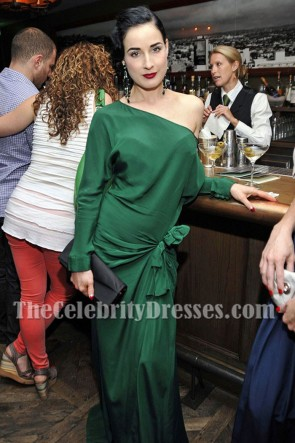 Dita Von Teese's Vintage-style Dressing Room Dark Green Evening Dress Long Sleeves Prom Gown  1
