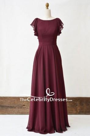 Elegant Burgundy Cap Sleeve A-line Prom Dress