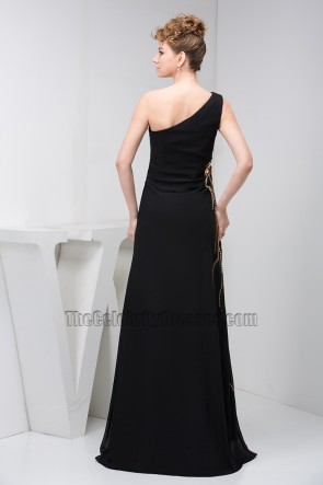 Elegant Black One Shoulder Beaded Formal Gown Evening Dresses