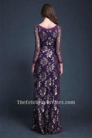 Elegant Purple Long Sleeve Evening Dress Formal Gown TCDBF045