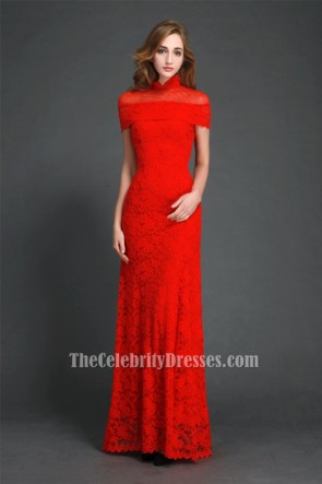 Elegant Red High Neckline Lace Evening Gowns Formal Dress TCDBF033
