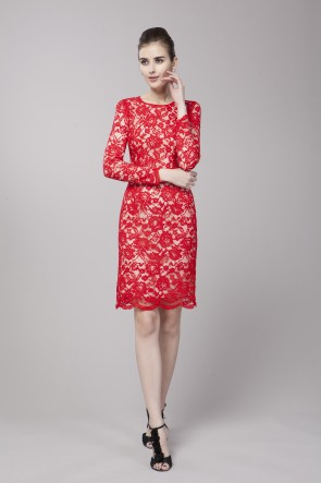 Elegant Red Lace Long Sleeve Cocktail Party Dress