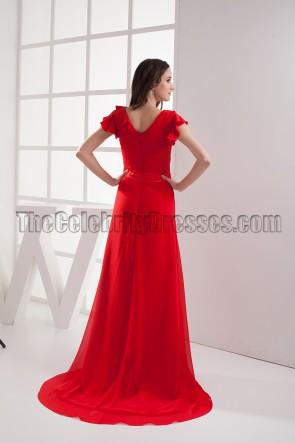 Elegant Red V-neck Prom Gown Evening Formal Dresses