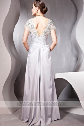 Elegant Silver Beaded Cap Sleeves Evening Prom Dresses