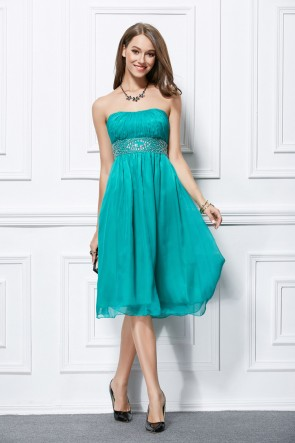 Elegant Strapless Chiffon Beaded Cocktail Bridesmaid Dresses