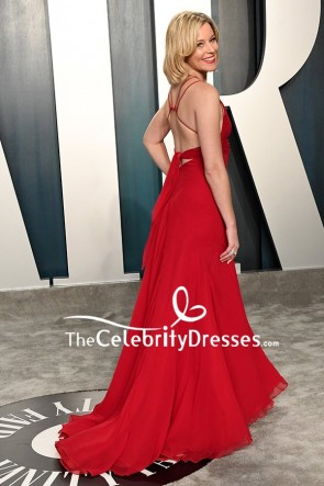 Elizabeth Banks Red Plunging Evening Dress 2020 Vanity Fair Oscar Party TCD8854
