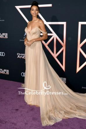 Ella Balinska Champagne Off Shoulder Formal Dress Premiere Of 'Charlie's Angels' TCD8762