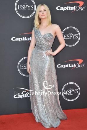 Elle Fanning Silver One-shoulder Sequined Formal Dress 2019 ESPYs
