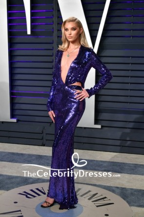 Elsa Hosk Royal Blue Deep V-neck Cutout Evening Dress 2019 Vanity Fair Oscar party TCD8333