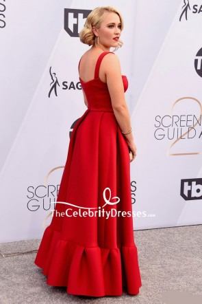 Emily Osment Red Square Neckline Ruffled Formal Dress SAG Awards 2019 TCD8268