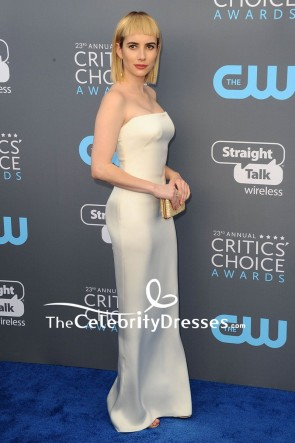 Emma Robert Robe de Soirée Colonne Sans Bretelle Ivoire 2018 Critics 'Choice Awards rouge Tapis