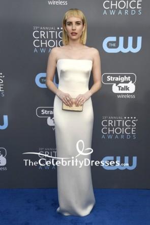 Emma Robert Ivory Strapless Column Evening Dress 2018 Critics' Choice Awards Red Carpet