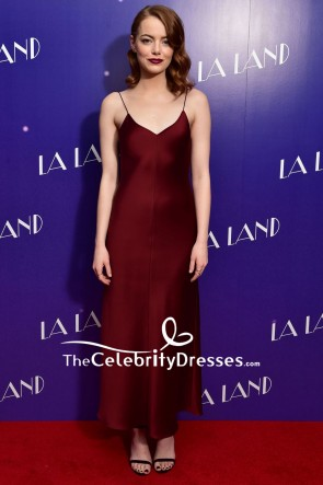 EMMA STONE Burgundy Spaghetti Straps Evening Dress La La Land Premiere 2017
