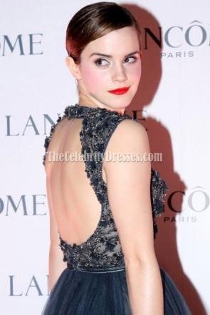 Emma Watson bleu marine robe de cocktail courte Lancome Dîner